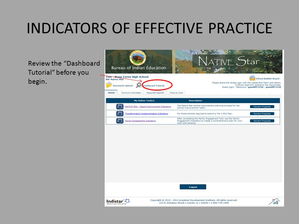INDICATORS OF EFFECTIVE PRACTICE Review the Dashboard Tutorial before you begin.
