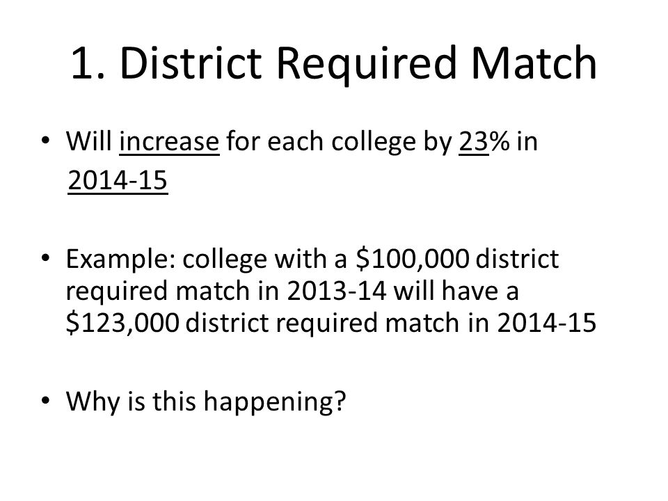 1. District Required Match Will increase for each college by 23% in 2014-15 Example: college with a $100,000 district required match in 2013-14 will h