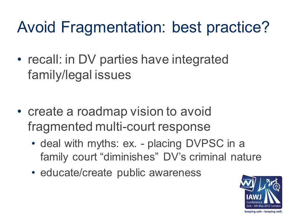 Avoid Fragmentation: best practice.