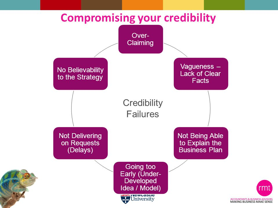 Over- Claiming Vagueness – Lack of Clear Facts Not Being Able to Explain the Business Plan Going too Early (Under- Developed Idea / Model) Not Delivering on Requests (Delays) No Believability to the Strategy Credibility Failures Compromising your credibility