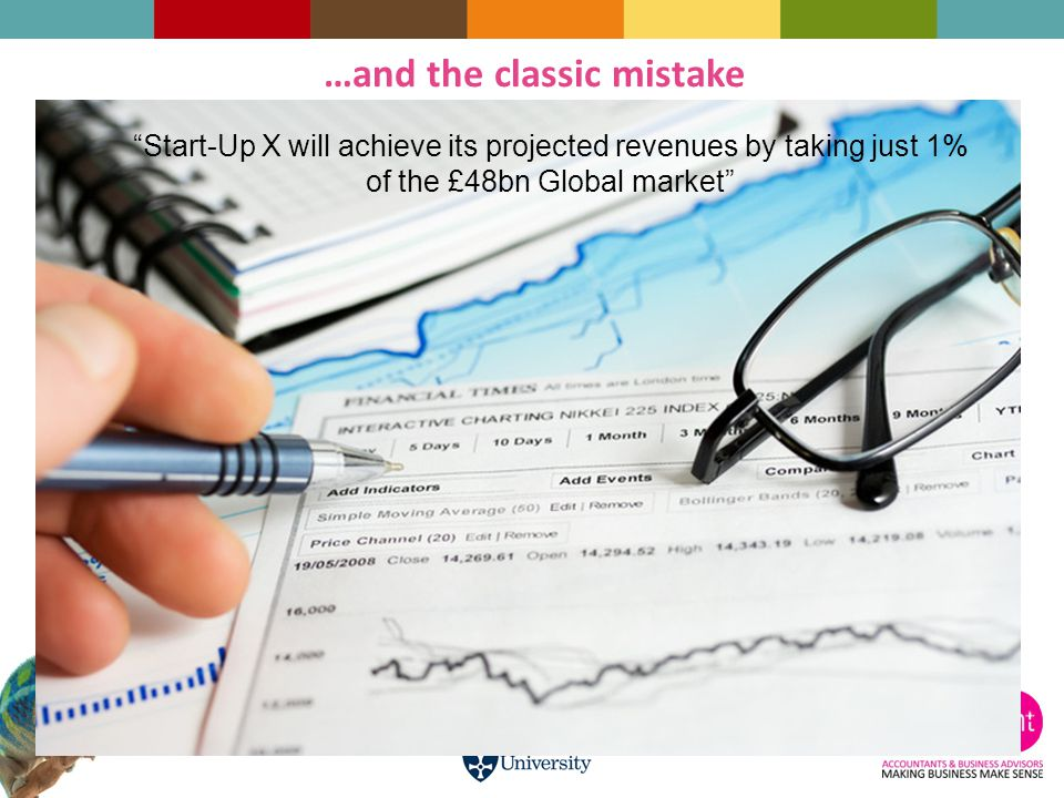 Start-Up X will achieve its projected revenues by taking just 1% of the £48bn Global market …and the classic mistake