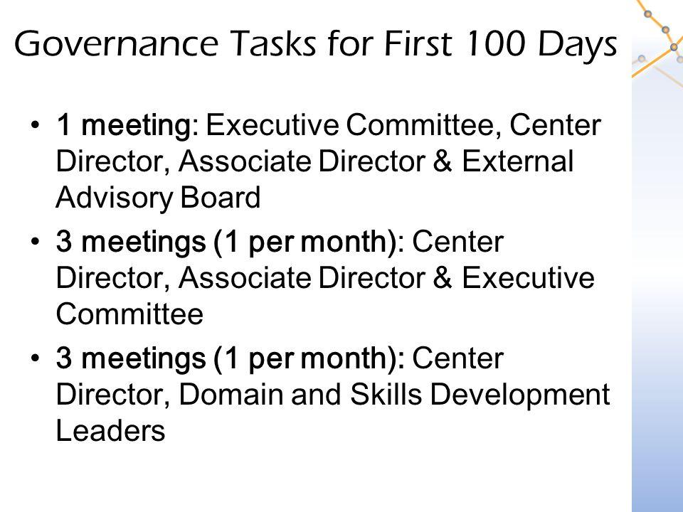 Governance Tasks for First 100 Days 1 meeting: Executive Committee, Center Director, Associate Director & External Advisory Board 3 meetings (1 per month): Center Director, Associate Director & Executive Committee 3 meetings (1 per month): Center Director, Domain and Skills Development Leaders
