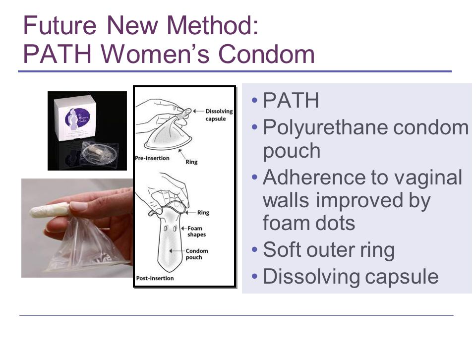 Future New Method: PATH Women's Condom PATH Polyurethane condom pouch Adherence to vaginal walls improved by foam dots Soft outer ring Dissolving caps