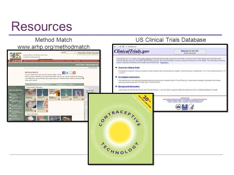 Resources US Clinical Trials DatabaseMethod Match www.arhp.org/methodmatch