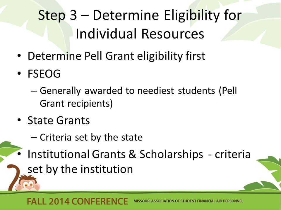 Step 3 – Determine Eligibility for Individual Resources Determine Pell Grant eligibility first FSEOG – Generally awarded to neediest students (Pell Grant recipients) State Grants – Criteria set by the state Institutional Grants & Scholarships - criteria set by the institution