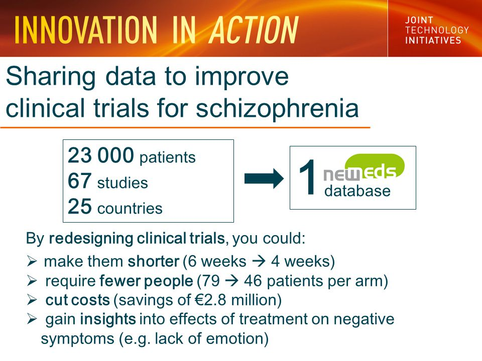 Sharing data to improve clinical trials for schizophrenia By redesigning clinical trials, you could:  make them shorter (6 weeks  4 weeks)  require fewer people (79  46 patients per arm)  cut costs (savings of €2.8 million)  gain insights into effects of treatment on negative symptoms (e.g.