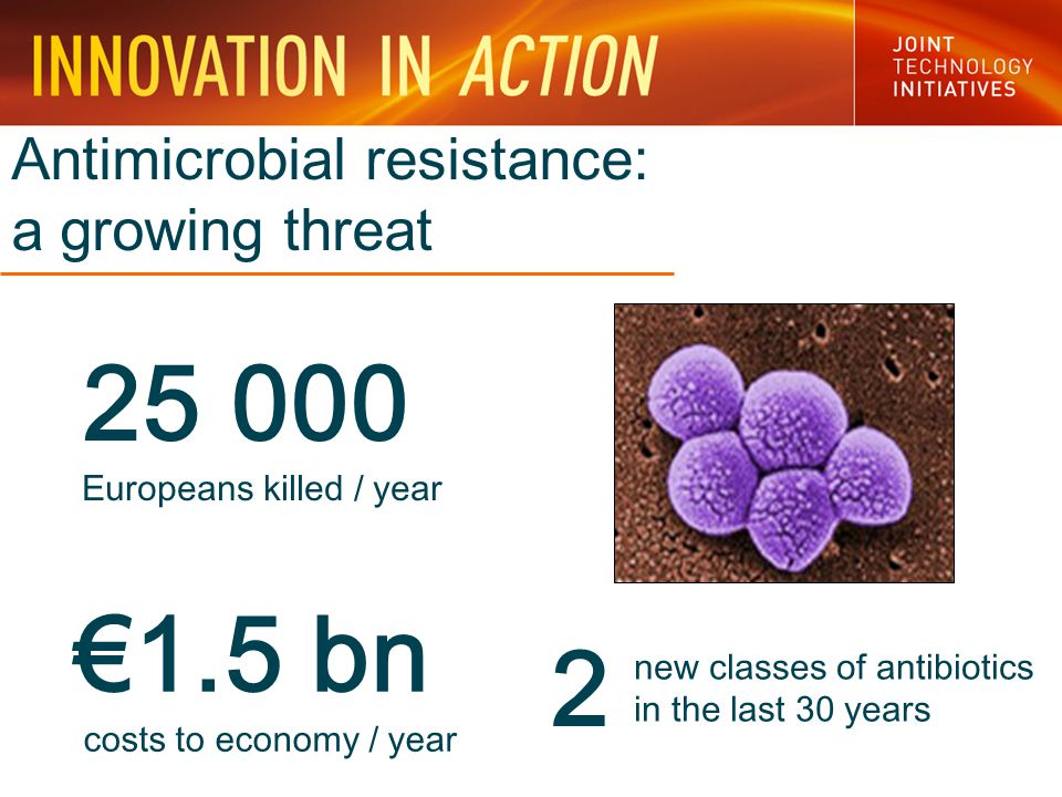 Antimicrobial resistance: a growing threat 25 000 Europeans killed / year €1.5 bn costs to economy / year 2 new classes of antibiotics in the last 30 years