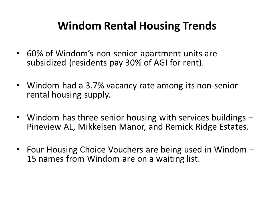 Windom Rental Housing Trends 60% of Windom's non-senior apartment units are subsidized (residents pay 30% of AGI for rent).