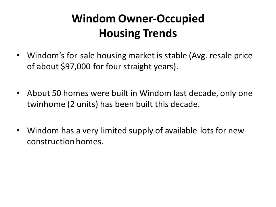 Windom Owner-Occupied Housing Trends Windom's for-sale housing market is stable (Avg.