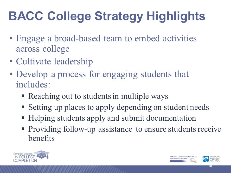 BACC College Strategy Highlights Engage a broad-based team to embed activities across college Cultivate leadership Develop a process for engaging students that includes:  Reaching out to students in multiple ways  Setting up places to apply depending on student needs  Helping students apply and submit documentation  Providing follow-up assistance to ensure students receive benefits 18
