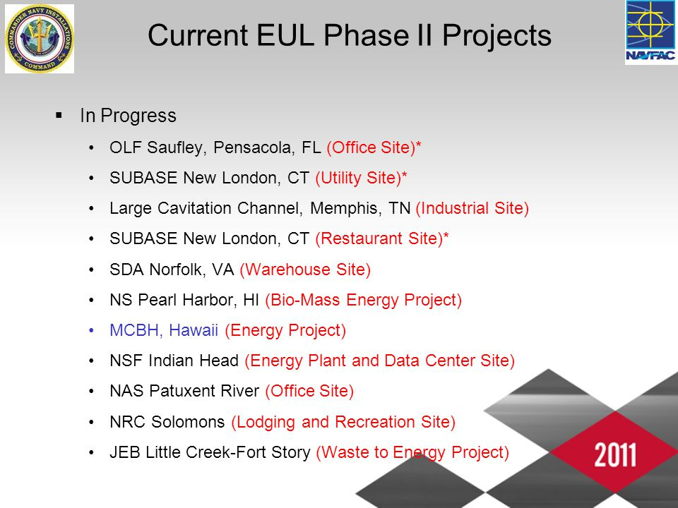 Current EUL Phase II Projects  In Progress OLF Saufley, Pensacola, FL (Office Site)* SUBASE New London, CT (Utility Site)* Large Cavitation Channel, Memphis, TN (Industrial Site) SUBASE New London, CT (Restaurant Site)* SDA Norfolk, VA (Warehouse Site) NS Pearl Harbor, HI (Bio-Mass Energy Project) MCBH, Hawaii (Energy Project) NSF Indian Head (Energy Plant and Data Center Site) NAS Patuxent River (Office Site) NRC Solomons (Lodging and Recreation Site) JEB Little Creek-Fort Story (Waste to Energy Project)