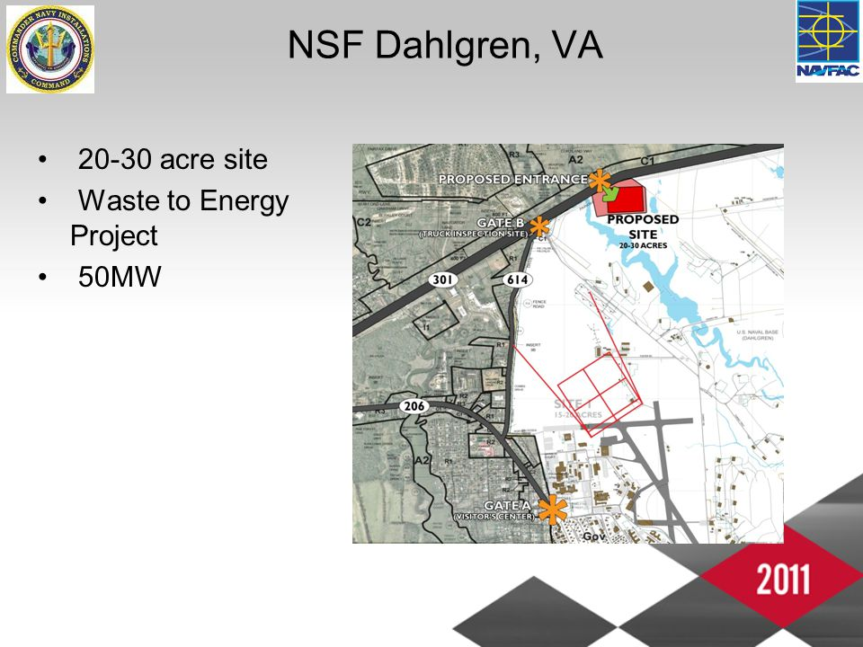 NSF Dahlgren, VA 20-30 acre site Waste to Energy Project 50MW