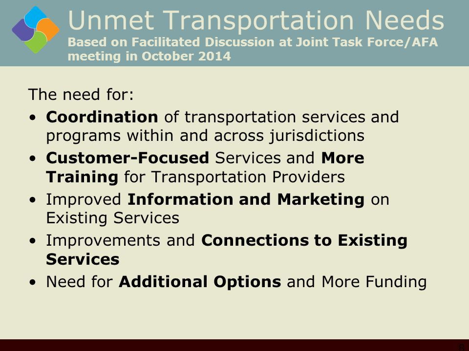 Unmet Transportation Needs Based on Facilitated Discussion at Joint Task Force/AFA meeting in October 2014 The need for: Coordination of transportatio