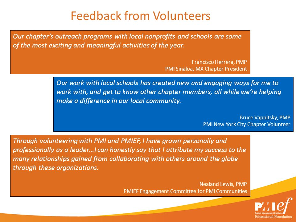 Feedback from Volunteers Our chapter's outreach programs with local nonprofits and schools are some of the most exciting and meaningful activities of the year.