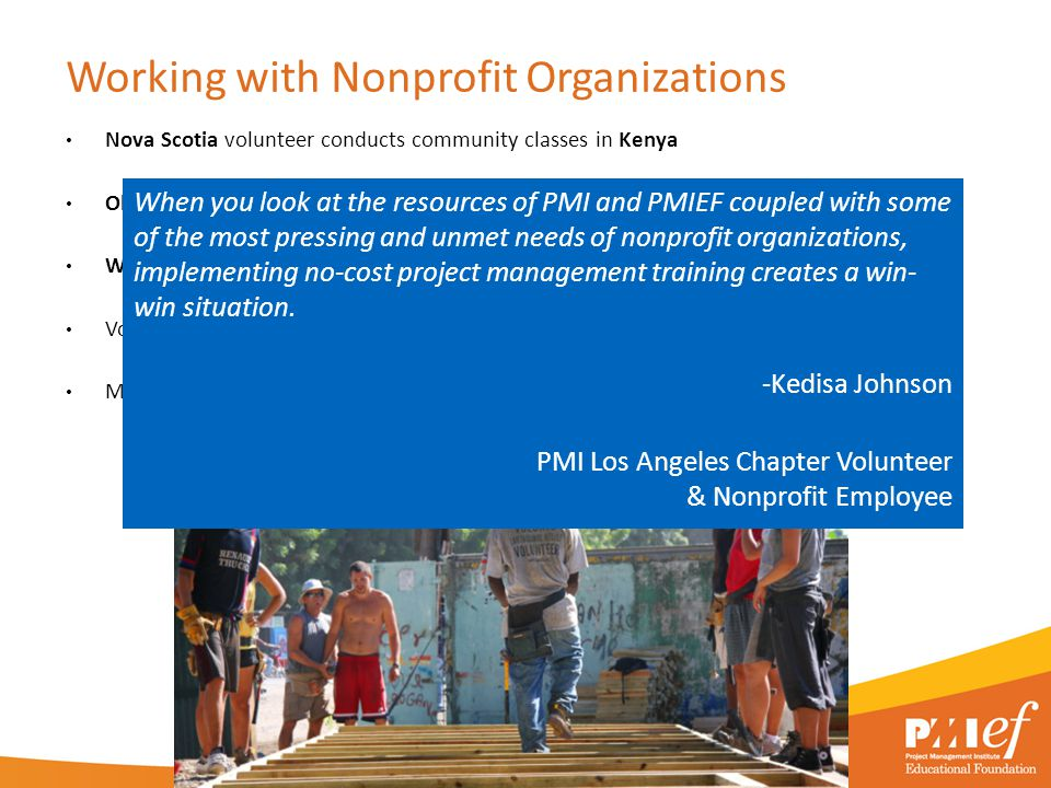Working with Nonprofit Organizations Nova Scotia volunteer conducts community classes in Kenya Oklahoma member volunteers with Chamber of Commerce Was