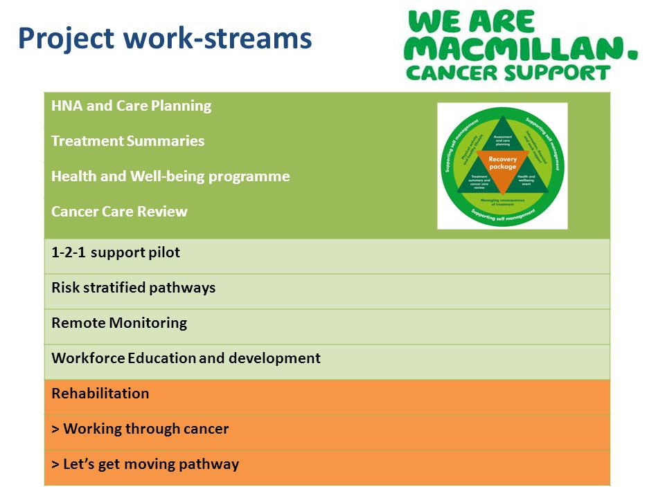 HNA and Care Planning Treatment Summaries Health and Well-being programme Cancer Care Review 1-2-1 support pilot Risk stratified pathways Remote Monit
