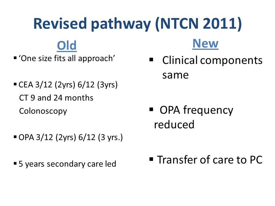 Old New Revised pathway (NTCN 2011)  'One size fits all approach'  CEA 3/12 (2yrs) 6/12 (3yrs) CT 9 and 24 months Colonoscopy  OPA 3/12 (2yrs) 6/12