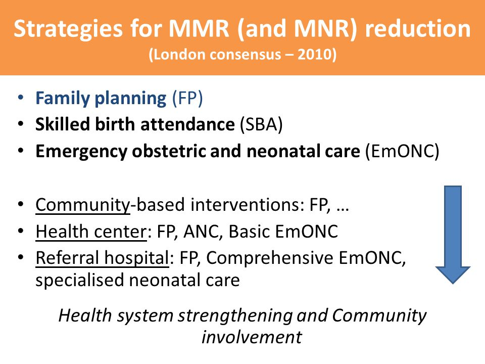Strategies for MMR (and MNR) reduction (London consensus – 2010) Family planning (FP) Skilled birth attendance (SBA) Emergency obstetric and neonatal