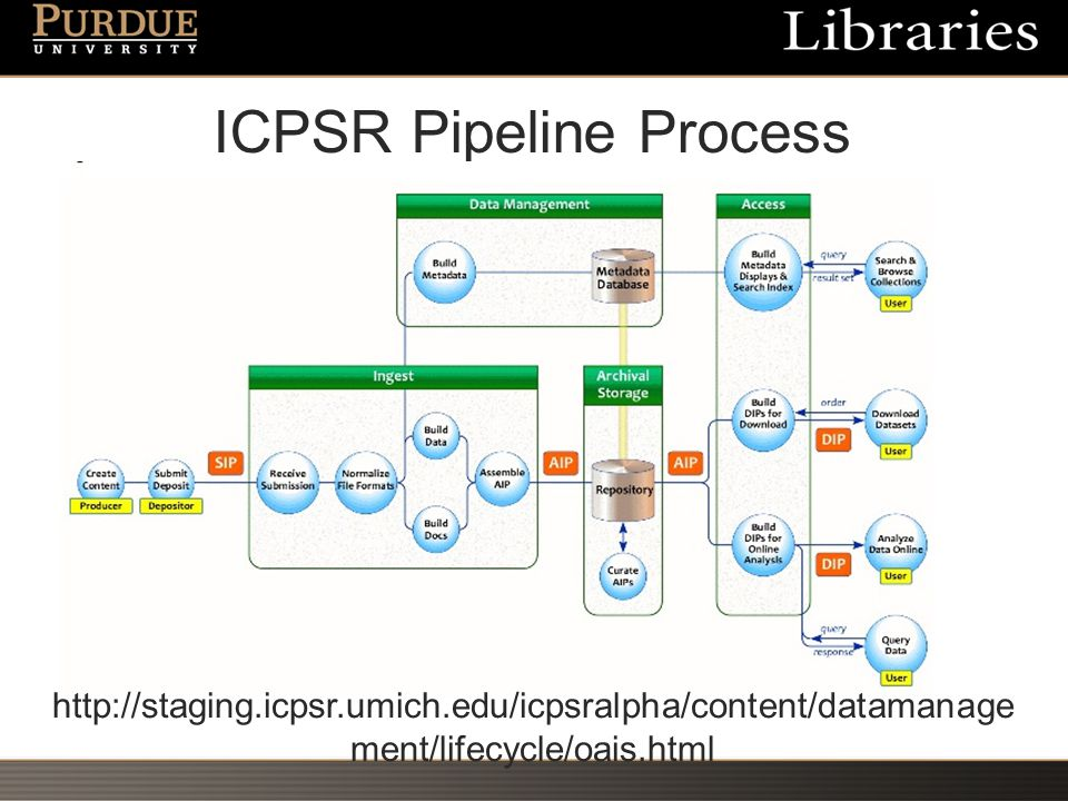 ICPSR Pipeline Process http://staging.icpsr.umich.edu/icpsralpha/content/datamanage ment/lifecycle/oais.html