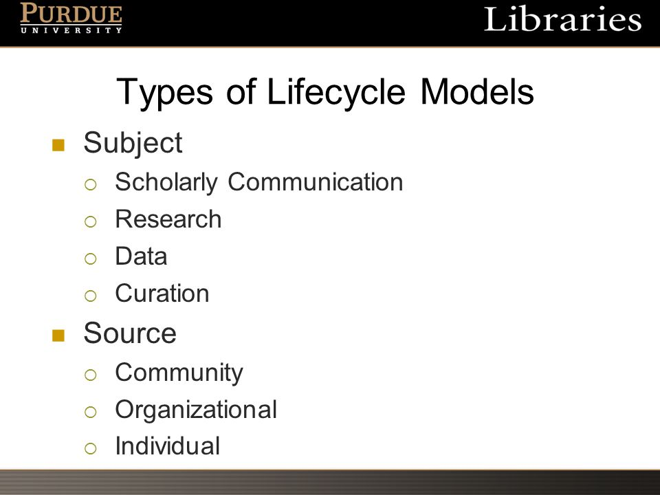 Types of Lifecycle Models Subject  Scholarly Communication  Research  Data  Curation Source  Community  Organizational  Individual