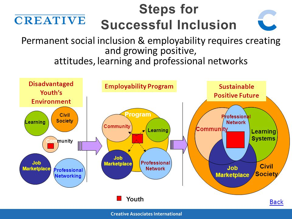 Steps for Successful Inclusion Permanent social inclusion & employability requires creating and growing positive, attitudes, learning and professional