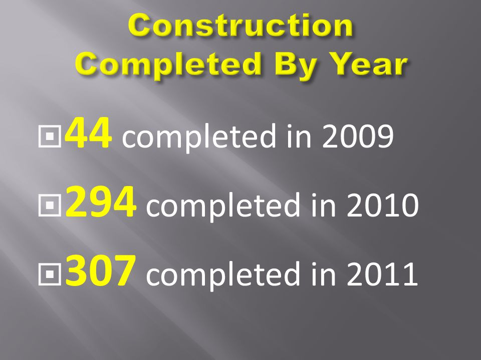  44 completed in 2009  294 completed in 2010  307 completed in 2011
