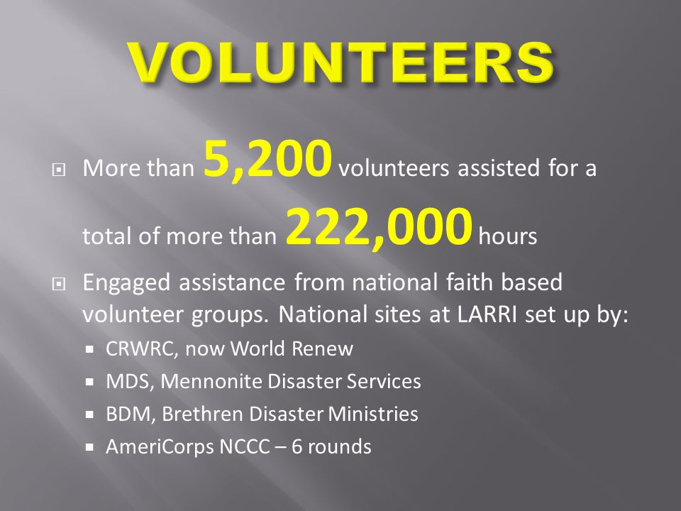  More than 5,200 volunteers assisted for a total of more than 222,000 hours  Engaged assistance from national faith based volunteer groups.