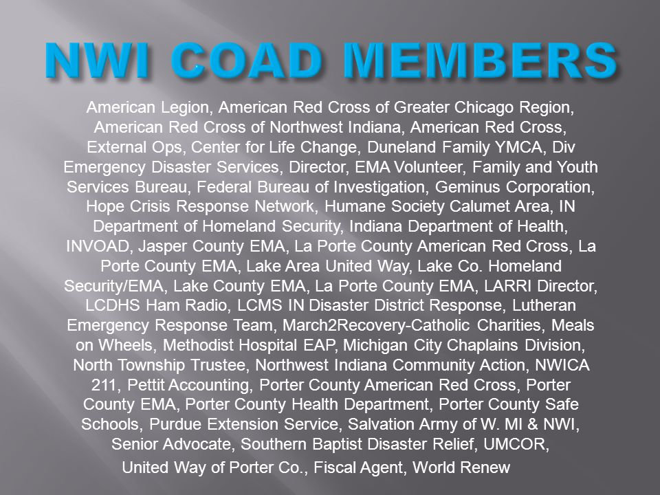 American Legion, American Red Cross of Greater Chicago Region, American Red Cross of Northwest Indiana, American Red Cross, External Ops, Center for L