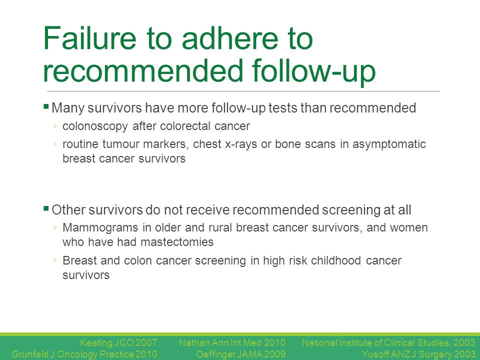 Failure to adhere to recommended follow-up  Many survivors have more follow-up tests than recommended ◦ colonoscopy after colorectal cancer ◦ routine tumour markers, chest x-rays or bone scans in asymptomatic breast cancer survivors  Other survivors do not receive recommended screening at all ◦ Mammograms in older and rural breast cancer survivors, and women who have had mastectomies ◦ Breast and colon cancer screening in high risk childhood cancer survivors National Institute of Clinical Studies, 2003 Yusoff ANZ J Surgery 2003 Nathan Ann Int Med 2010 Oeffinger JAMA 2009 Keating JCO 2007 Grunfeld J Oncology Practice 2010
