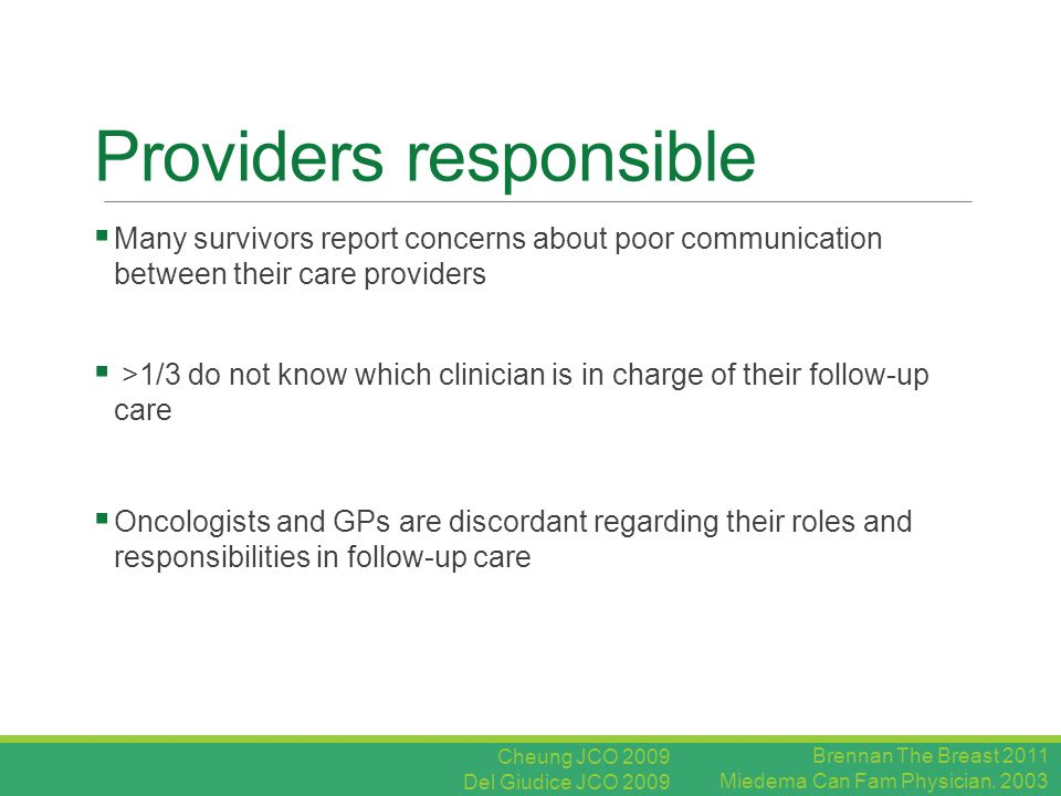 Providers responsible  Many survivors report concerns about poor communication between their care providers  >1/3 do not know which clinician is in charge of their follow-up care  Oncologists and GPs are discordant regarding their roles and responsibilities in follow-up care Brennan The Breast 2011 Miedema Can Fam Physician.