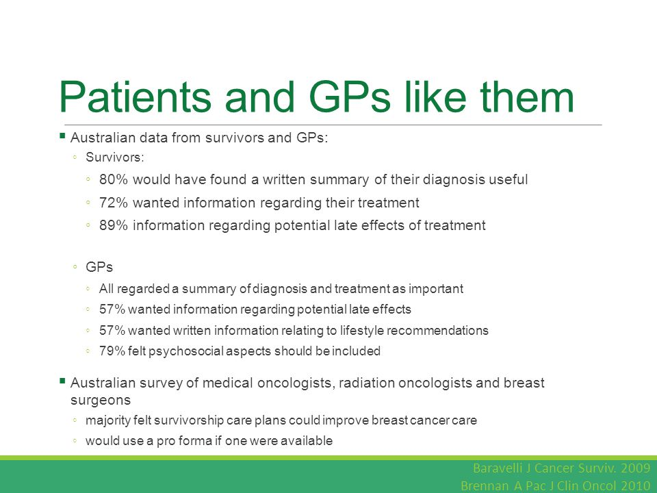 Patients and GPs like them  Australian data from survivors and GPs: ◦ Survivors: ◦ 80% would have found a written summary of their diagnosis useful ◦ 72% wanted information regarding their treatment ◦ 89% information regarding potential late effects of treatment ◦ GPs ◦ All regarded a summary of diagnosis and treatment as important ◦ 57% wanted information regarding potential late effects ◦ 57% wanted written information relating to lifestyle recommendations ◦ 79% felt psychosocial aspects should be included  Australian survey of medical oncologists, radiation oncologists and breast surgeons ◦ majority felt survivorship care plans could improve breast cancer care ◦ would use a pro forma if one were available Baravelli J Cancer Surviv.