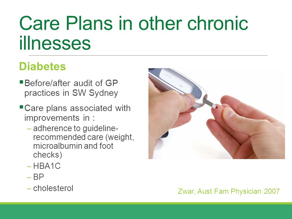 Care Plans in other chronic illnesses Diabetes  Before/after audit of GP practices in SW Sydney  Care plans associated with improvements in : ─ adherence to guideline- recommended care (weight, microalbumin and foot checks) ─ HBA1C ─ BP ─ cholesterol Zwar, Aust Fam Physician 2007