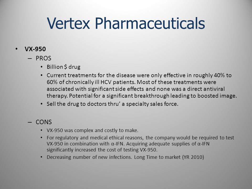 Vertex Pharmaceuticals VX-950 – PROS Billion $ drug Current treatments for the disease were only effective in roughly 40% to 60% of chronically ill HCV patients.