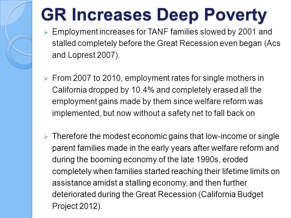 GR Increases Deep Poverty  Employment increases for TANF families slowed by 2001 and stalled completely before the Great Recession even began (Acs an