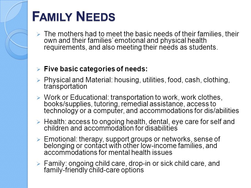 F AMILY N EEDS  The mothers had to meet the basic needs of their families, their own and their families' emotional and physical health requirements,