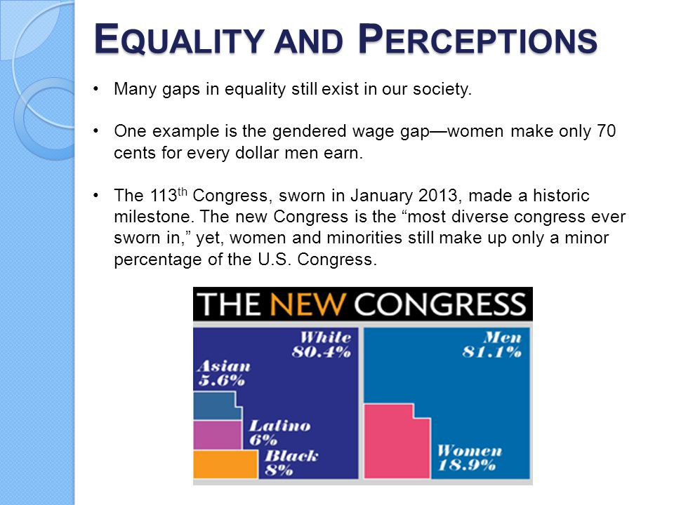 E QUALITY AND P ERCEPTIONS Many gaps in equality still exist in our society. One example is the gendered wage gap—women make only 70 cents for every d