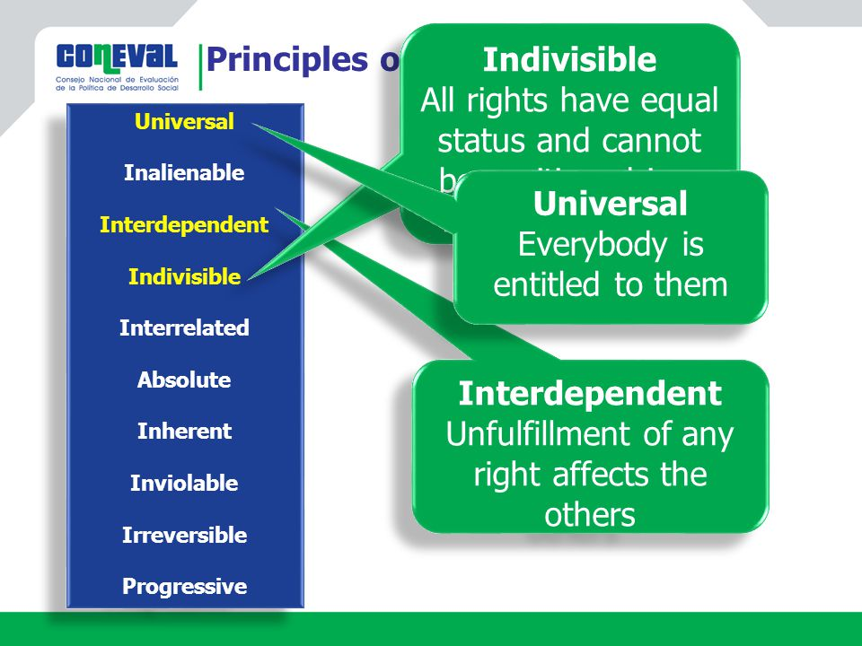 Principles of human rights Universal Inalienable Interdependent Indivisible Interrelated Absolute Inherent Inviolable Irreversible Progressive Universal Inalienable Interdependent Indivisible Interrelated Absolute Inherent Inviolable Irreversible Progressive Interdependent Unfulfillment of any right affects the others Interdependent Unfulfillment of any right affects the others Indivisible All rights have equal status and cannot be positioned in a hierarchical order Indivisible All rights have equal status and cannot be positioned in a hierarchical order Universal Everybody is entitled to them Universal Everybody is entitled to them