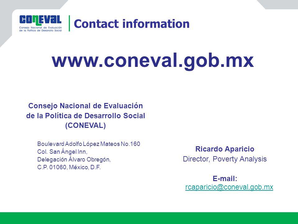 Consejo Nacional de Evaluación de la Política de Desarrollo Social (CONEVAL) Boulevard Adolfo López Mateos No.160 Col.