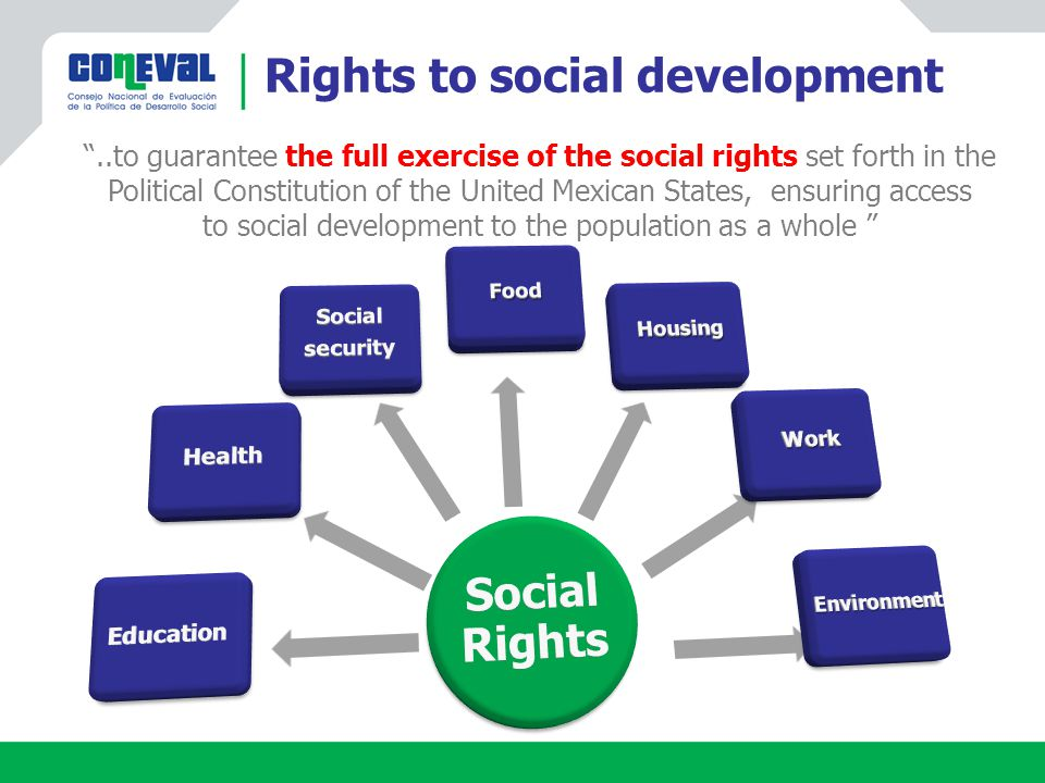 Rights to social development ..to guarantee the full exercise of the social rights set forth in the Political Constitution of the United Mexican States, ensuring access to social development to the population as a whole