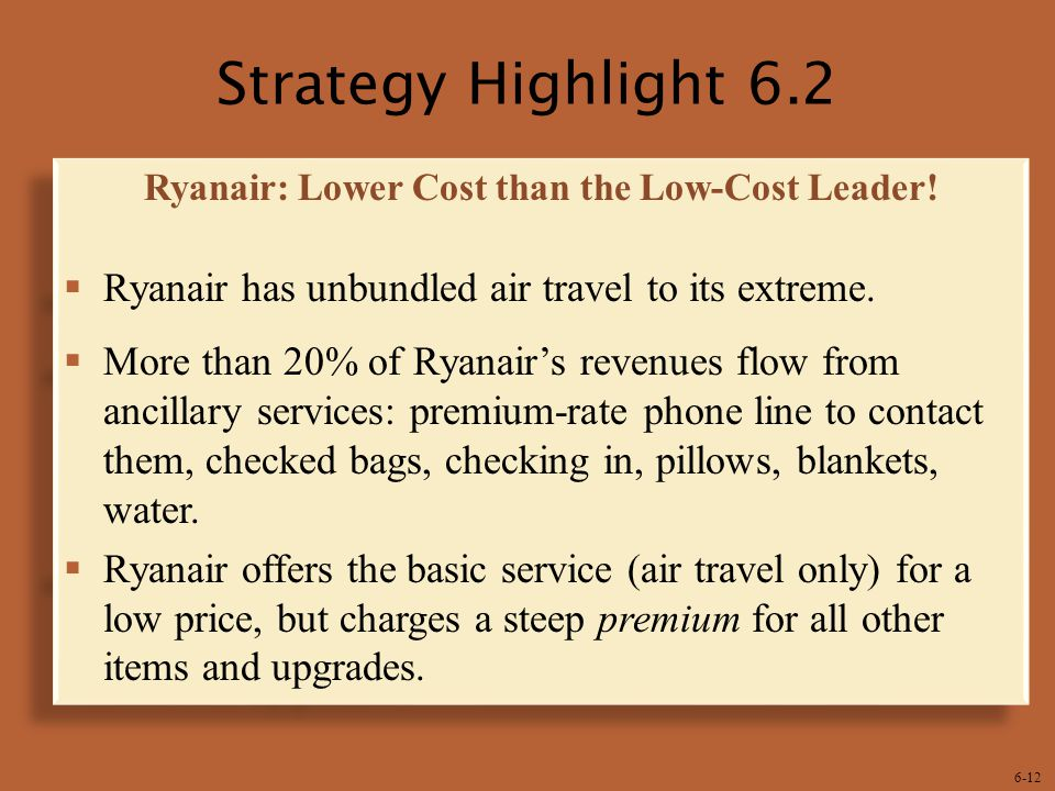 6-12 Strategy Highlight 6.2 Ryanair: Lower Cost than the Low-Cost Leader.