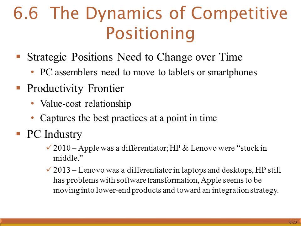 6-23  Strategic Positions Need to Change over Time PC assemblers need to move to tablets or smartphones  Productivity Frontier Value-cost relationship Captures the best practices at a point in time  PC Industry 2010 – Apple was a differentiator; HP & Lenovo were stuck in middle. 2013 – Lenovo was a differentiator in laptops and desktops, HP still has problems with software transformation, Apple seems to be moving into lower-end products and toward an integration strategy.