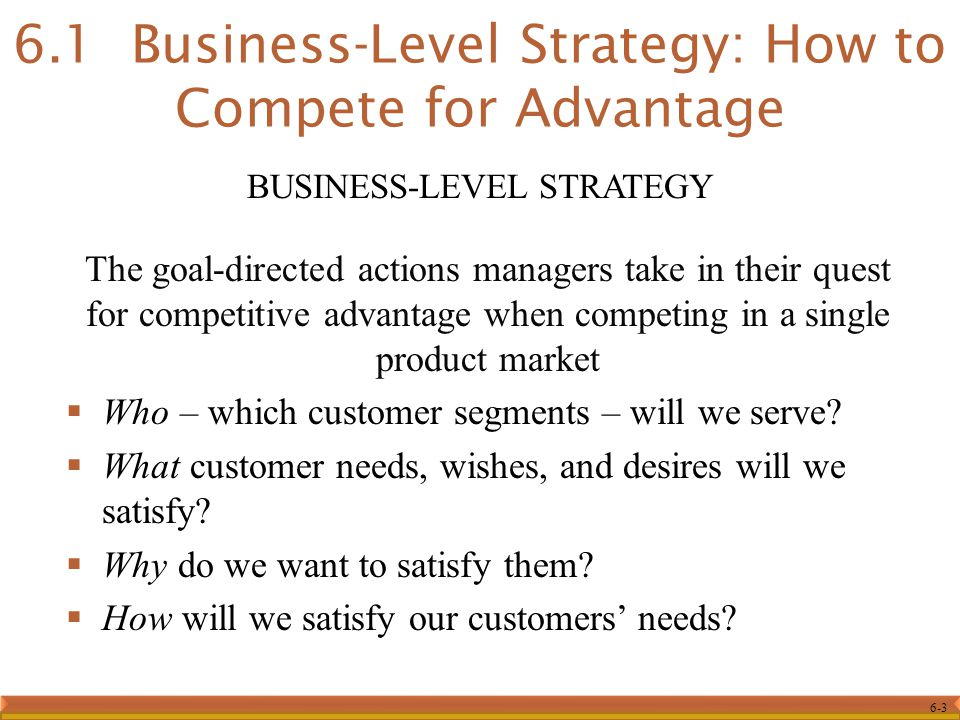 6-3 The goal-directed actions managers take in their quest for competitive advantage when competing in a single product market  Who – which customer segments – will we serve.