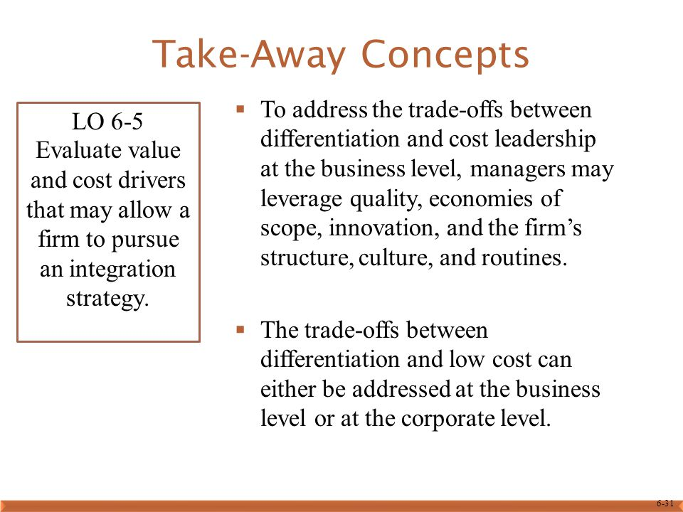 6-31 Take-Away Concepts  To address the trade-offs between differentiation and cost leadership at the business level, managers may leverage quality, economies of scope, innovation, and the firm's structure, culture, and routines.