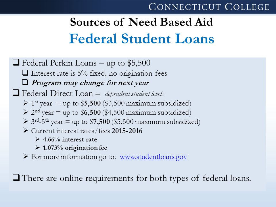 Sources of Need Based Aid Federal Student Loans  Federal Perkin Loans – up to $5,500  Interest rate is 5% fixed, no origination fees  Program may change for next year  Federal Direct Loan – dependent student levels  1 st year = up to $5,500 ($3,500 maximum subsidized)  2 nd year = up to $6,500 ($4,500 maximum subsidized)  3 rd -5 th year = up to $7,500 ($5,500 maximum subsidized)  Current interest rates/fees 2015-2016  4.66% interest rate  1.073% origination fee  For more information go to: www.studentloans.govwww.studentloans.gov  There are online requirements for both types of federal loans.