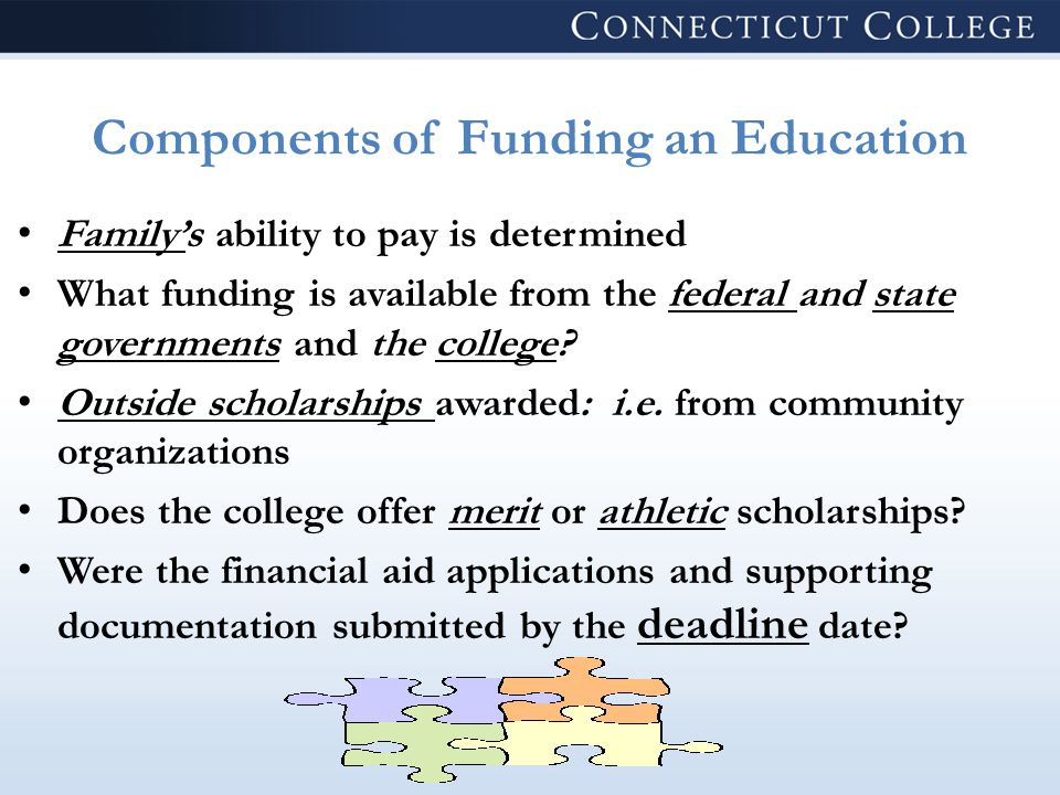 Components of Funding an Education Family's ability to pay is determined What funding is available from the federal and state governments and the college.