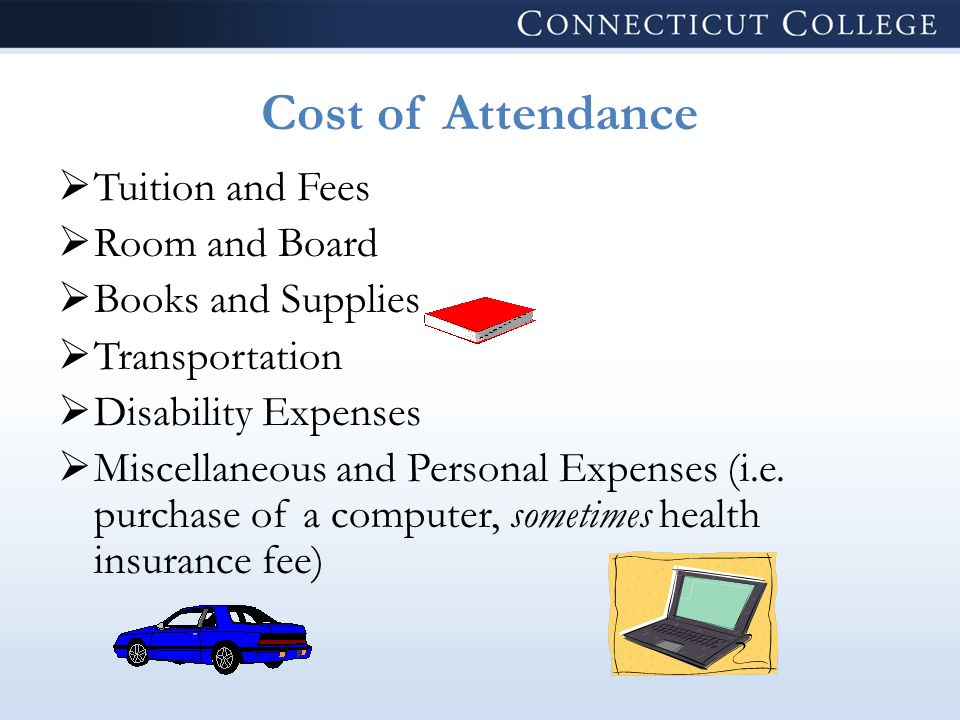Cost of Attendance  Tuition and Fees  Room and Board  Books and Supplies  Transportation  Disability Expenses  Miscellaneous and Personal Expenses (i.e.