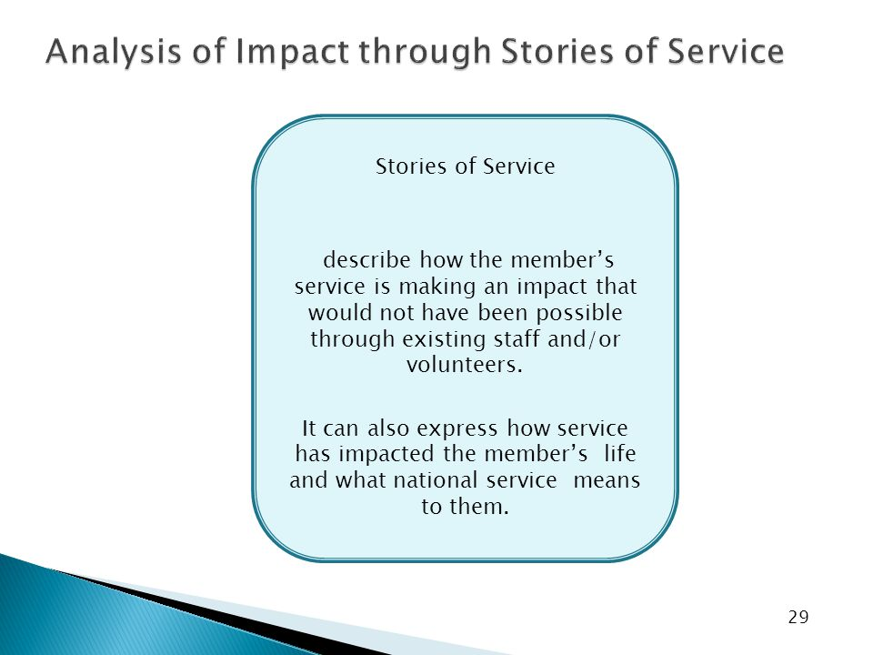 29 Stories of Service describe how the member's service is making an impact that would not have been possible through existing staff and/or volunteers.
