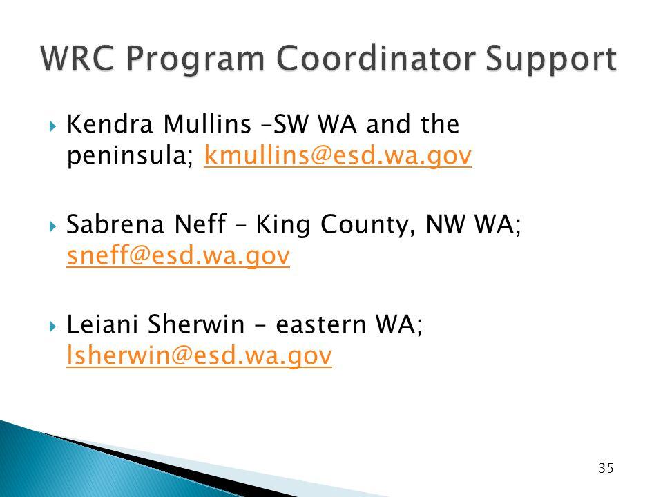 35  Kendra Mullins –SW WA and the peninsula; kmullins@esd.wa.govkmullins@esd.wa.gov  Sabrena Neff – King County, NW WA; sneff@esd.wa.gov sneff@esd.w