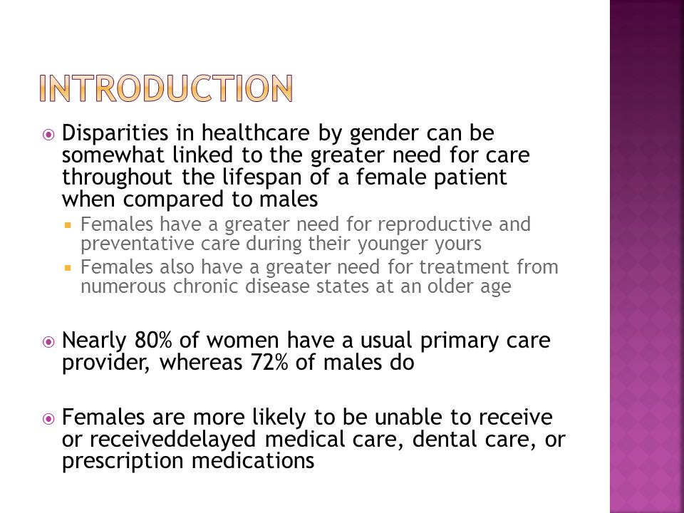  Overall, younger and older women continue to use more care than men under healthcare reform  Despite increases in insurance coverage, women were still more likely to report unmet needs for health care and problems affording care than men  Especially true in younger adults