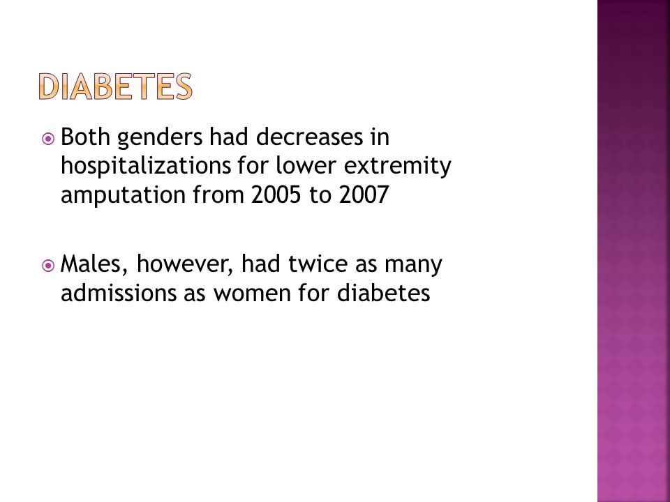  Both genders had decreases in hospitalizations for lower extremity amputation from 2005 to 2007  Males, however, had twice as many admissions as women for diabetes